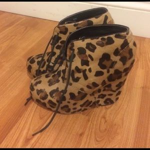Steve Madden leopard wedge booties